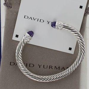 David Yurman 6.75 AMETHYST Diamonds 7mm Cuff